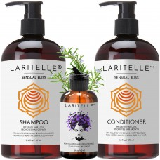 Laritelle Organic Hair Care Set Sensual Bliss: Shampoo 17.5 oz + Conditioner 16 oz + Bonus Post-Shampoo Hair Strengthening Treatment