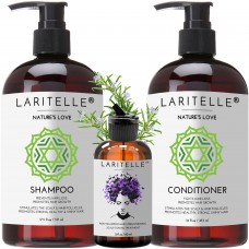 Laritelle Organic Hair Care Set Nature's Love: Shampoo 17.5 oz + Conditioner 16 oz + Bonus Post-Shampoo Hair Strengthening Treatment