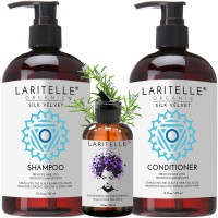 Laritelle Organic Hair Care Set Silk Velvet: Shampoo 17.5 oz + Conditioner 16 oz + Bonus Post-Shampoo Hair Strengthening Treatment